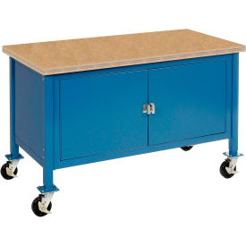 """72""""W x 30""""D Mobile Workbench with Security Cabinet - Shop Top Square Edge - Blue"""