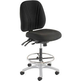 Manager Stool - Fabric - 360° Footrest  - Black