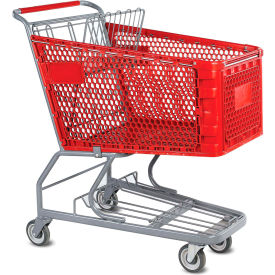 VersaCart® Red Plastic Shopping Cart 6.3 Cu. Foot Capacity 102-165-RED-BH- Pkg Qty 1