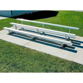 3 Row National Rep Tip N Roll Aluminum Bleacher, 9'W, Single Footboard