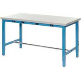 """96""""W x 36""""D Production Workbench with Power Apron - ESD Laminate Square Edge - Blue"""
