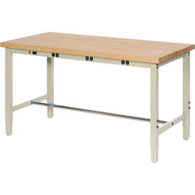 """72""""W x 24""""D Production Workbench with Power Apron - Maple Butcher Block Square Edge - Tan"""