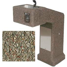 Concrete Outdoor Drinking Fountain ADA Accessible - Gray Limestone- Pkg Qty 1