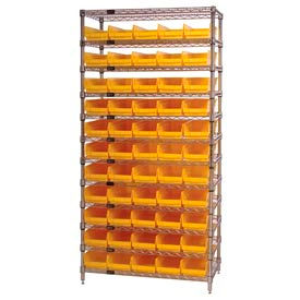 "Chrome Wire Shelving with 55 4""H Plastic Shelf Bins Yellow, 36x14x74"
