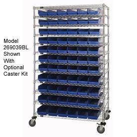 "Chrome Wire Shelving with 91 4""H Plastic Shelf Bins Blue, 48x14x74"
