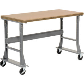"""60""""W x 30""""D Mobile Fixed Height C-Channel Flared Leg Workbench - Ash Block Safety Edge - Gray"""