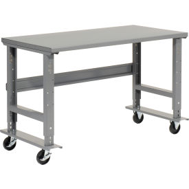 "48""W x 36""D Mobile Adjustable Height C-Channel Leg Workbench - Steel - Gray"