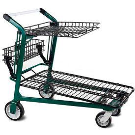 VersaCart® Retractable Tray Top Shelf Lawn Garden Shopping Cart Dark Green
