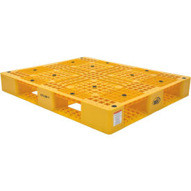Stackable Plastic Pallet 47-3/8x39-1/2x6, 6600 lb Floor & 2200 lb Fork Cap.Yellow