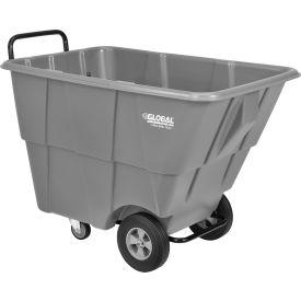 Chariot à bascule de luxe en plastique, capacité de 1/2 verges cubes et 750 lb, gris