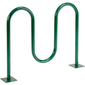 5-Bike Wave Bike Rack, Green, Flange Mount