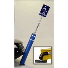"""52""""H FlexBollard™ with 8""""H Sign Post - Natural Ground Installation - Black Cover/White Tapes"""