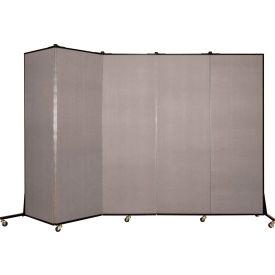 Screenflex 5 Panel Mobile Room Divider - Fabric Color: Light Gray- Pkg Qty 1