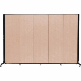 Screenflex 5 Panel Mobile Room Divider - Fabric Color: Tan- Pkg Qty 1