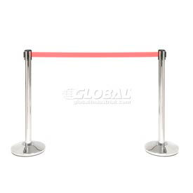"""Crowd Control Stanchion, 39""""H Stainless Steel Post, 7-1/2' Red Retractable Belt - Pkg Qty 2"""