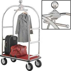 "Best Value Silver Stainless Steel Bellman Cart Curved Uprights 8"" Pneu Casters"