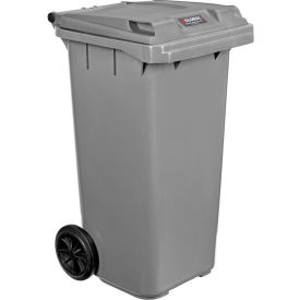 Global Industrial™ Mobile Trash Container with Lid - 32 Gallon Gray