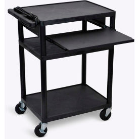 """Luxor Plastic Audio Visual Cart with Pull-Out Laptop Shelf 34""""H"""