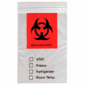"Reclosable Biohazard Specimen Bags, 3-Ply, 2 mil, 8"" x 10"", Clear, 1000 per Case"
