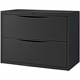 "Interion® 36"" Premium Lateral File Cabinet 2 Drawer Black"