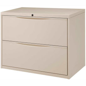 "Interion® 36"" Premium Lateral File Cabinet 2 Drawer Putty"