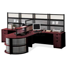 Storlie 2 Person L-Desk Workstation with Bookcase End & Dividing Counter Top