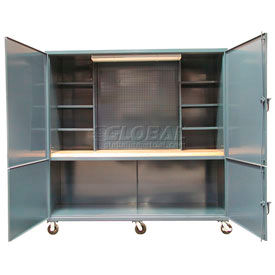 "Mobile Cabinet  Site Workbench Station - 96""W x 36""D x 90""H"