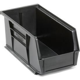 Global™ Plastic Stacking Bins - Parts Storage Bin 5-1/2 x 10-7/8 x 5, Black - Pkg Qty 12