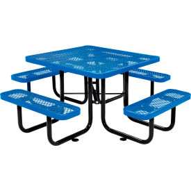"46"" Square Outdoor Steel Picnic Table - Expanded Metal - Blue"