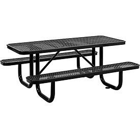 6 ft. Rectangular Outdoor Steel Picnic Table - Expanded Metal - Black
