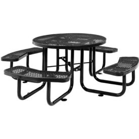 "46"" Round Outdoor Steel Picnic Table - Expanded Metal - Black"