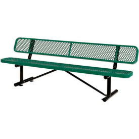 """96""""  Expanded Metal Mesh Bench With Back Rest Green"""