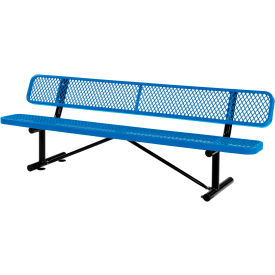 8 ft. Outdoor Steel Bench with Backrest - Expanded Metal - Blue