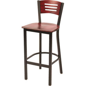 KFI - Metal Cafe Barstool with Wood Seat and Back Mahogany
