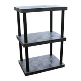 """Structural Plastic Solid Shelving, 36""""W x 24""""D x 51""""H, Black"""