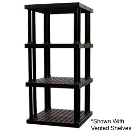 """Structural Plastic Solid Shelving, 36""""W x 36""""D x 75""""H, Black"""
