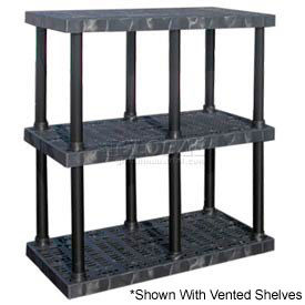 """Structural Plastic Solid Shelving, 48""""W x 24""""D x 51""""H, Black"""