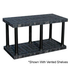 """Structural Plastic Solid Shelving, 66""""W x 24""""D x 27""""H, Black"""