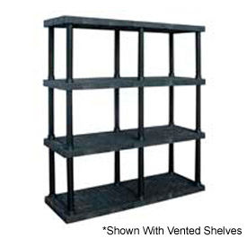 """Structural Plastic Solid Shelving, 66""""W x 24""""D x 75""""H, Black"""