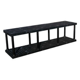 "Structural Plastic Solid Shelving, 96""W x 24""D x 27""H, Black"