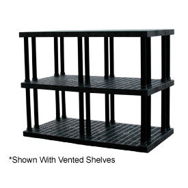 """Structural Plastic Solid Shelving, 96""""W x 36""""D x 51""""H, Black"""