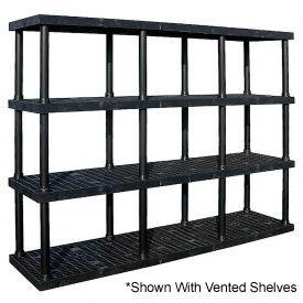 "Structural Plastic Solid Shelf, 96""W x 24""D x 75""H, Black"