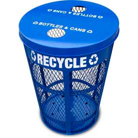 Outdoor Expanded Metal Recycling Receptacles - EXP-52NPBL-FTR
