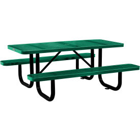6 ft. Rectangular Outdoor Steel Picnic Table - Perforated Metal - Green