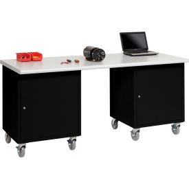 Global Industrial™ 72 x 30 Plastic Safety Edge Mobile Pedestal Workbench Black