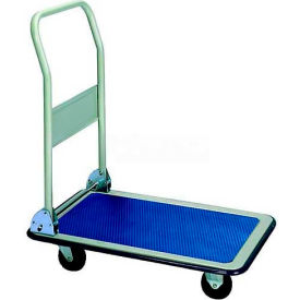 "Wesco® Folding Handle Steel Platform Truck 272238 29x19 4"" Rubber Casters- Pkg Qty 1"