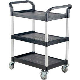 Small Plastic Utility Cart CSC-S with 3 Shelves and Open Sides