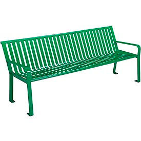 6 ft. Outdoor Steel Slat Park Bench - Green