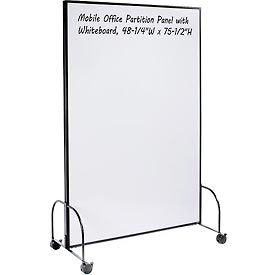 """Mobile Office Partition Panel with 2-sided Whiteboard, 48-1/4""""W x 75-1/2""""H"""