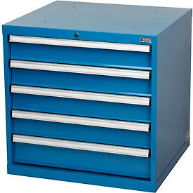 """Global™ Modular Drawer Cabinet, 5 Drawers, w/Lock, w/o Dividers, 30""""Wx27""""Dx29-1/2""""H Blue"""